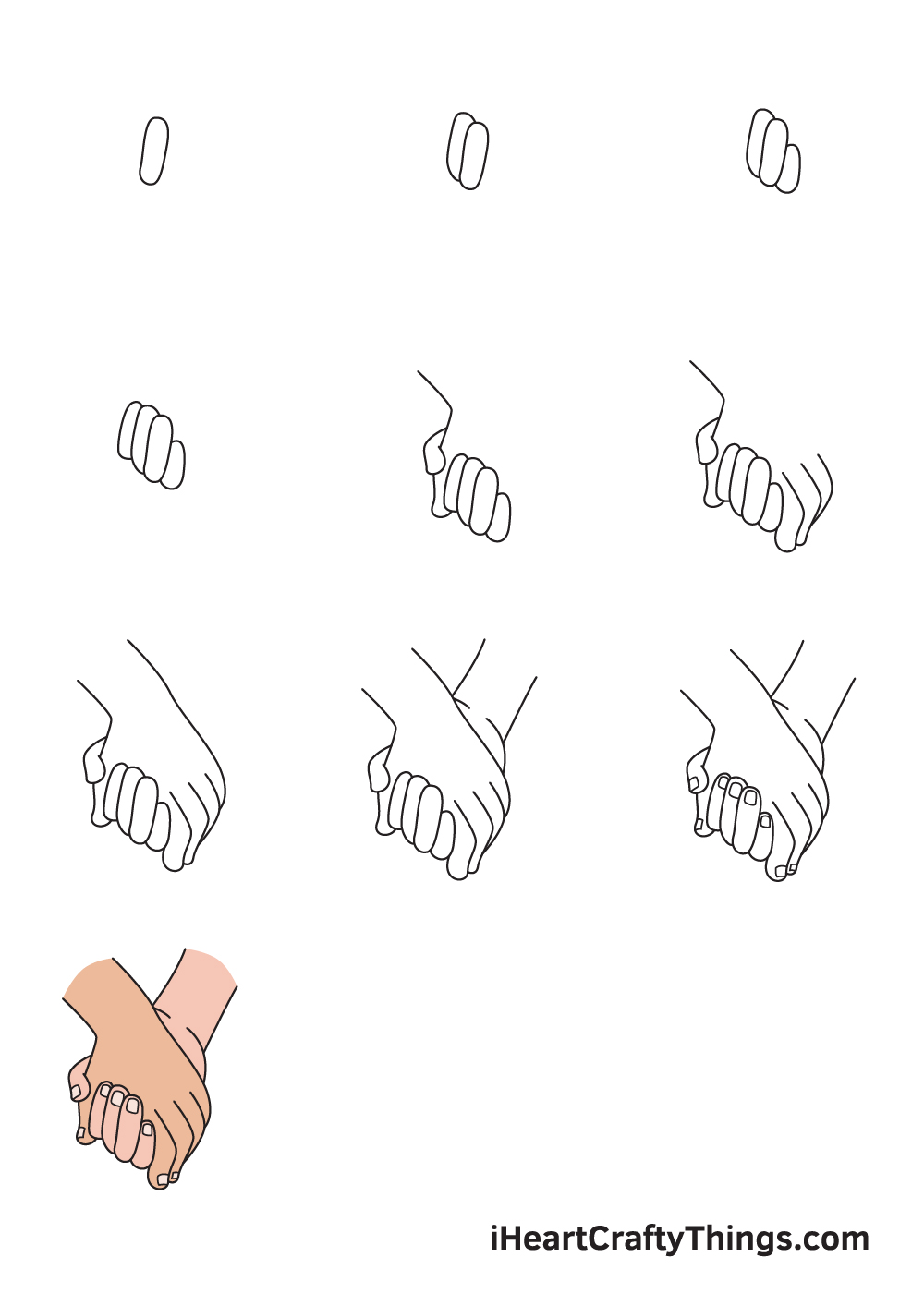 drawing holding hands in 9 steps