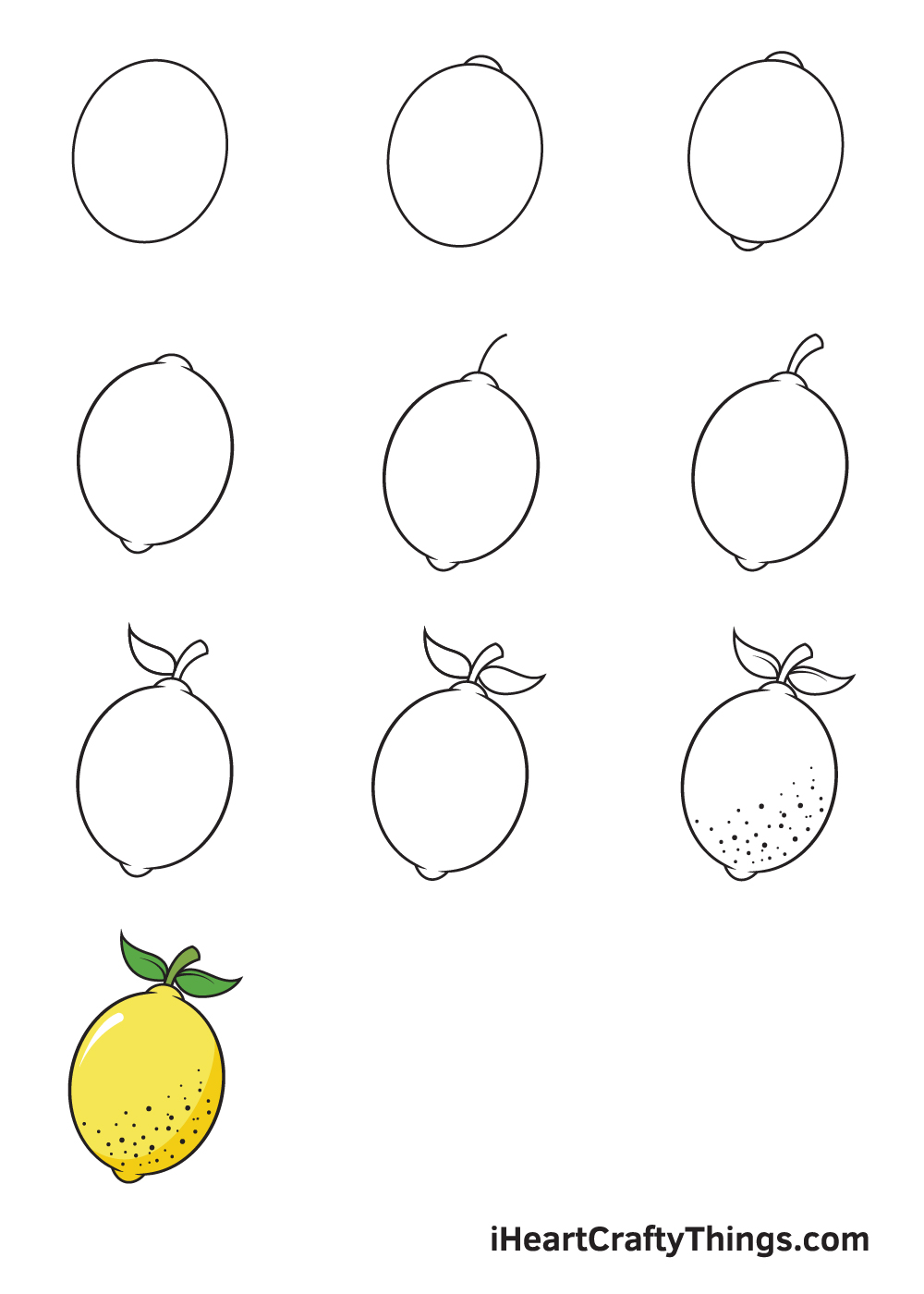 drawing lemon in 9 steps