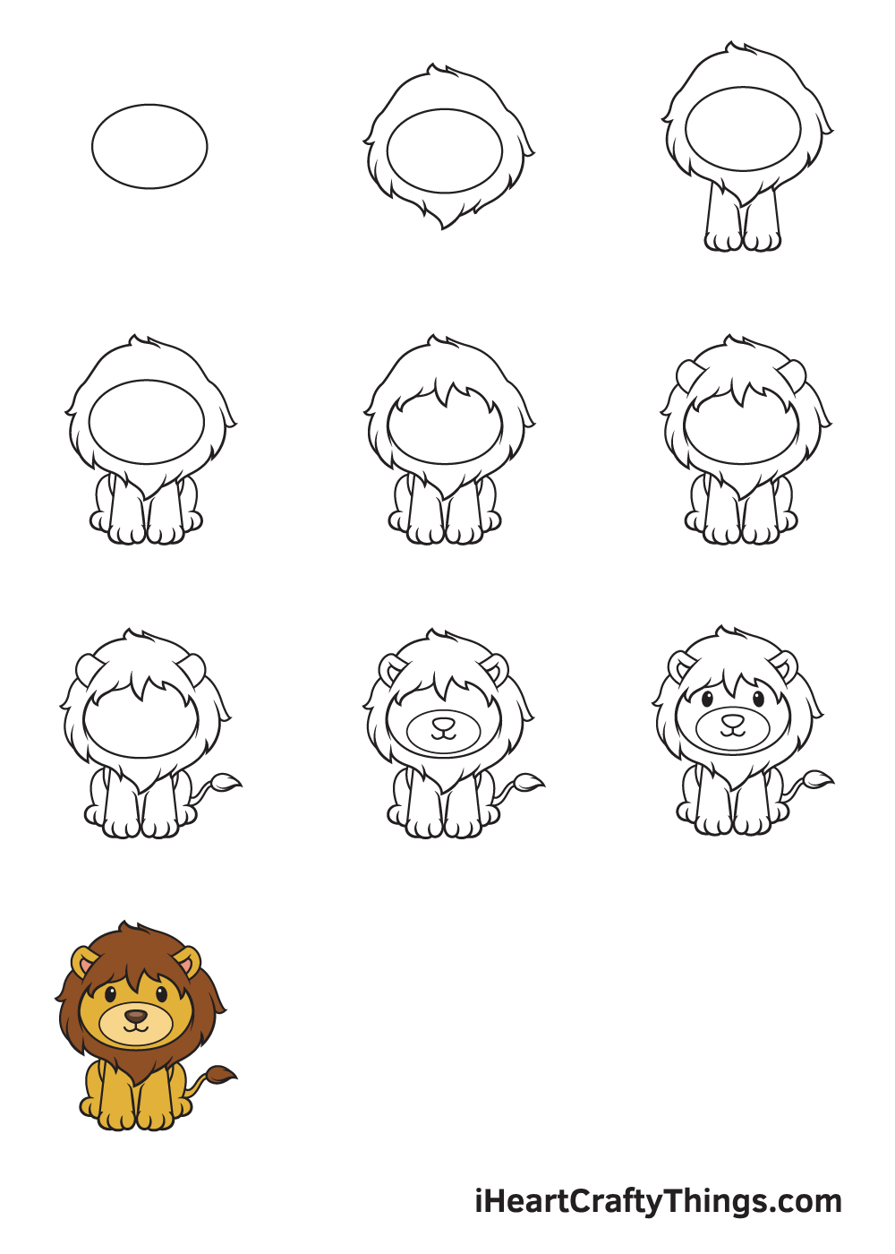 drawing lion in 9 easy steps