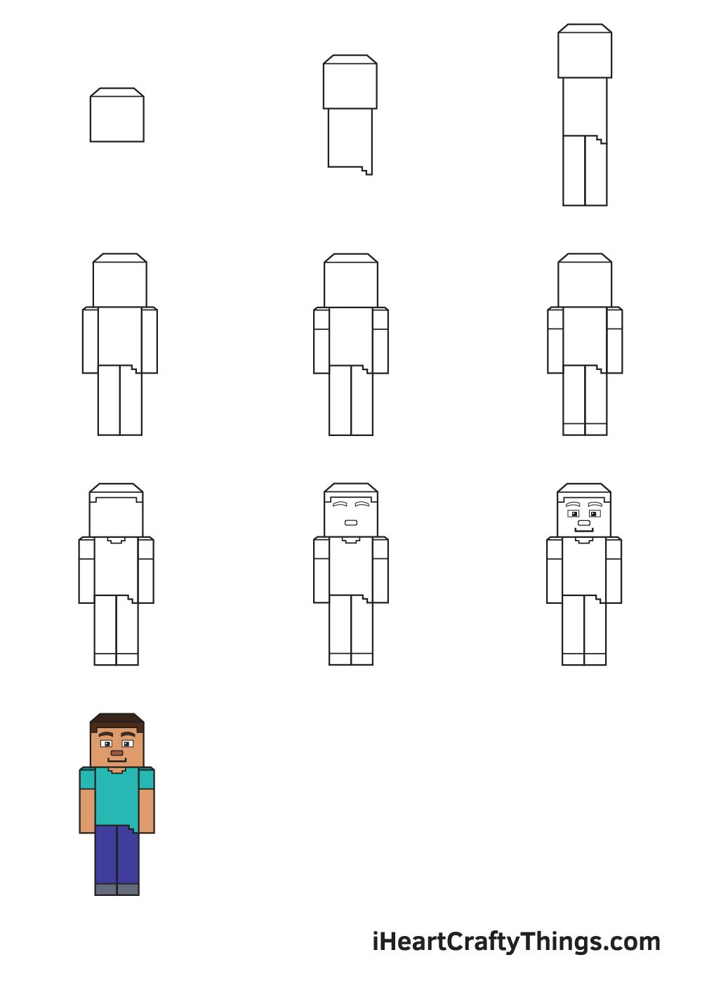 drawing minecraft in 9 easy steps