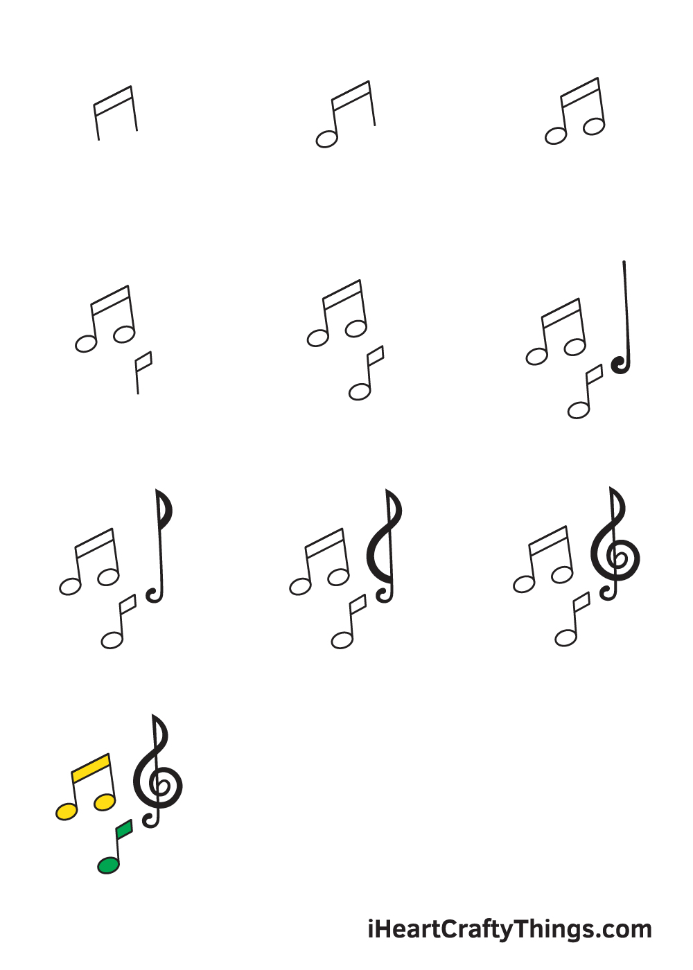 drawing music notes in 9 easy steps
