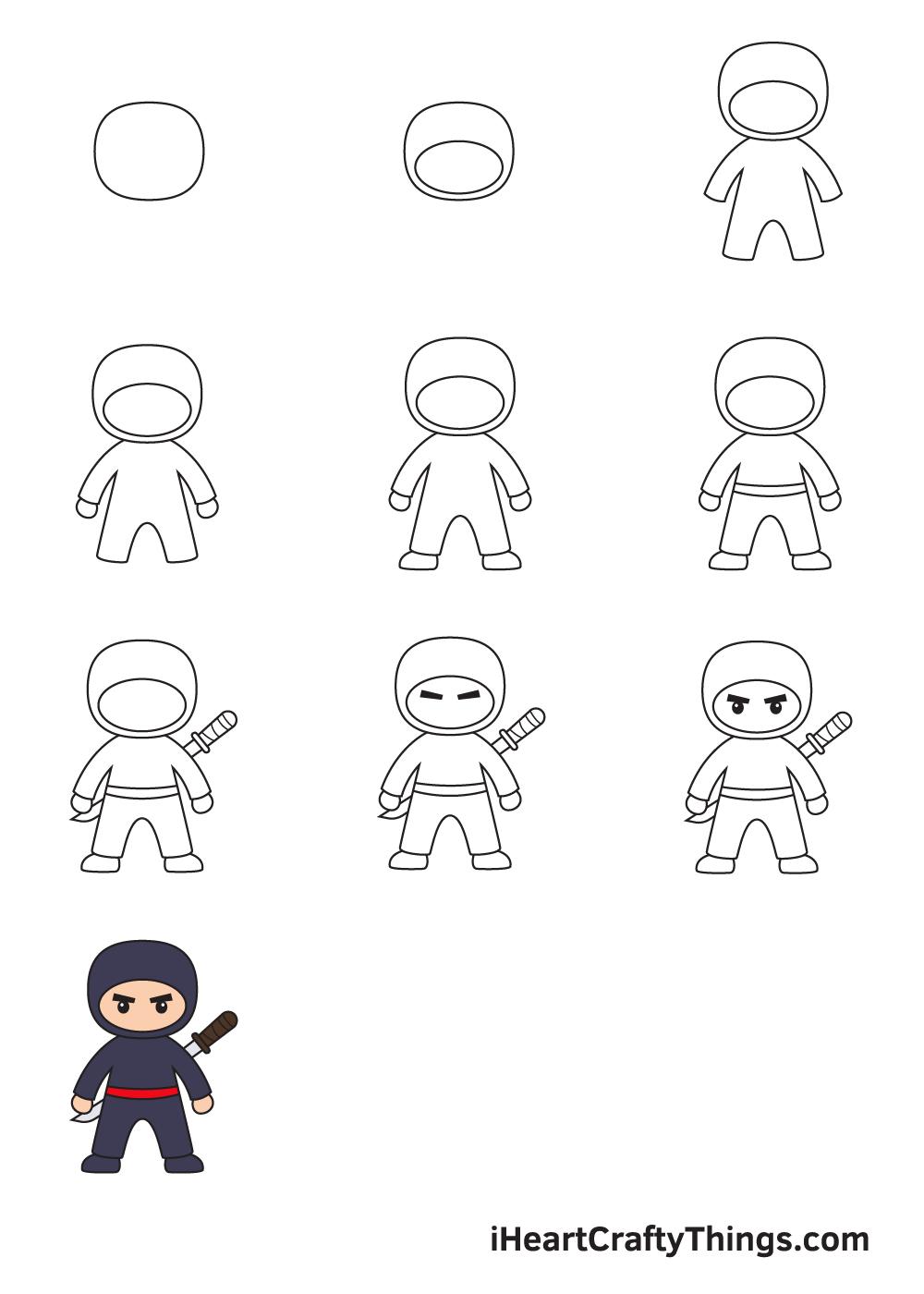 drawing ninja in 9 easy steps