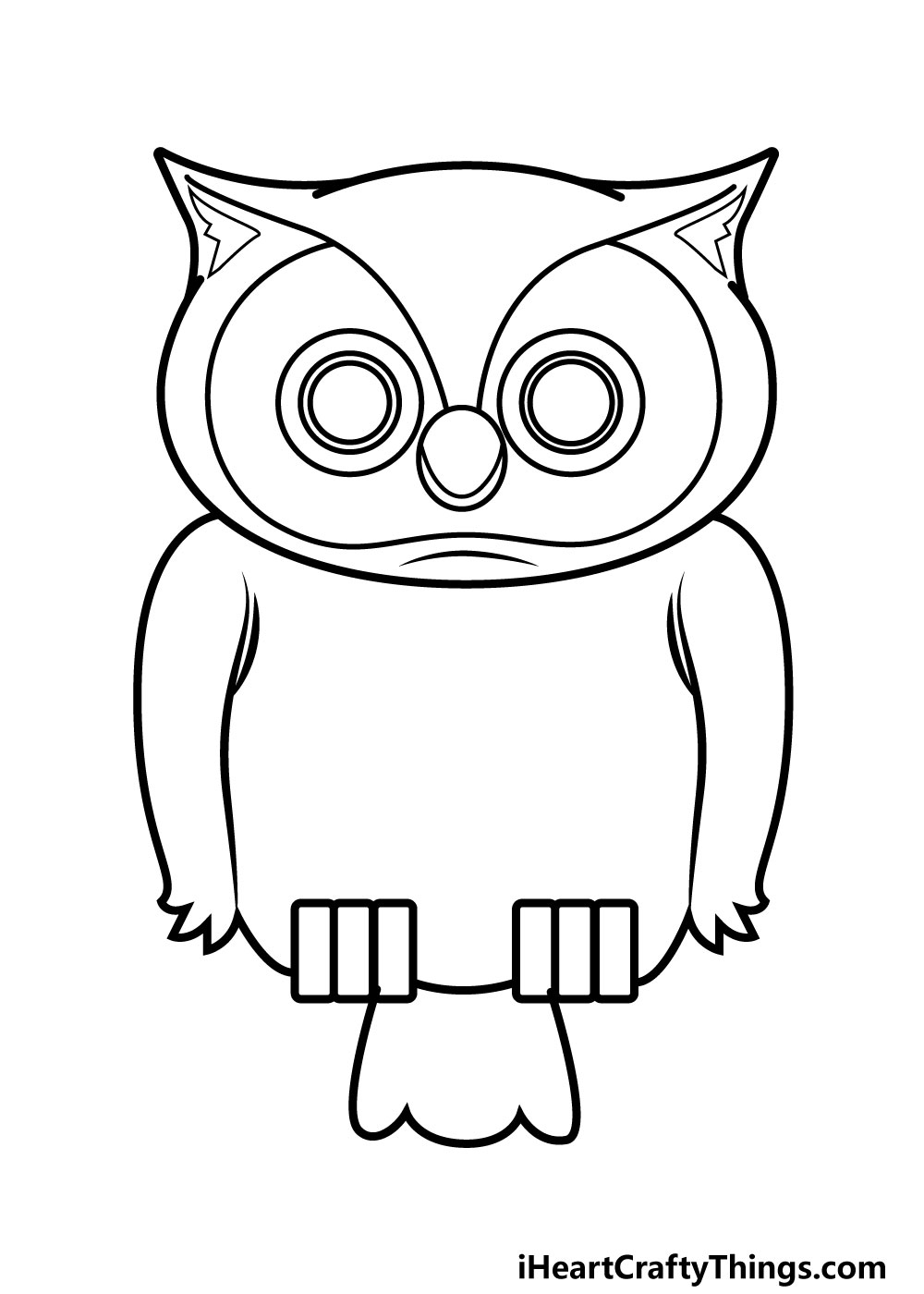owl drawing step 7