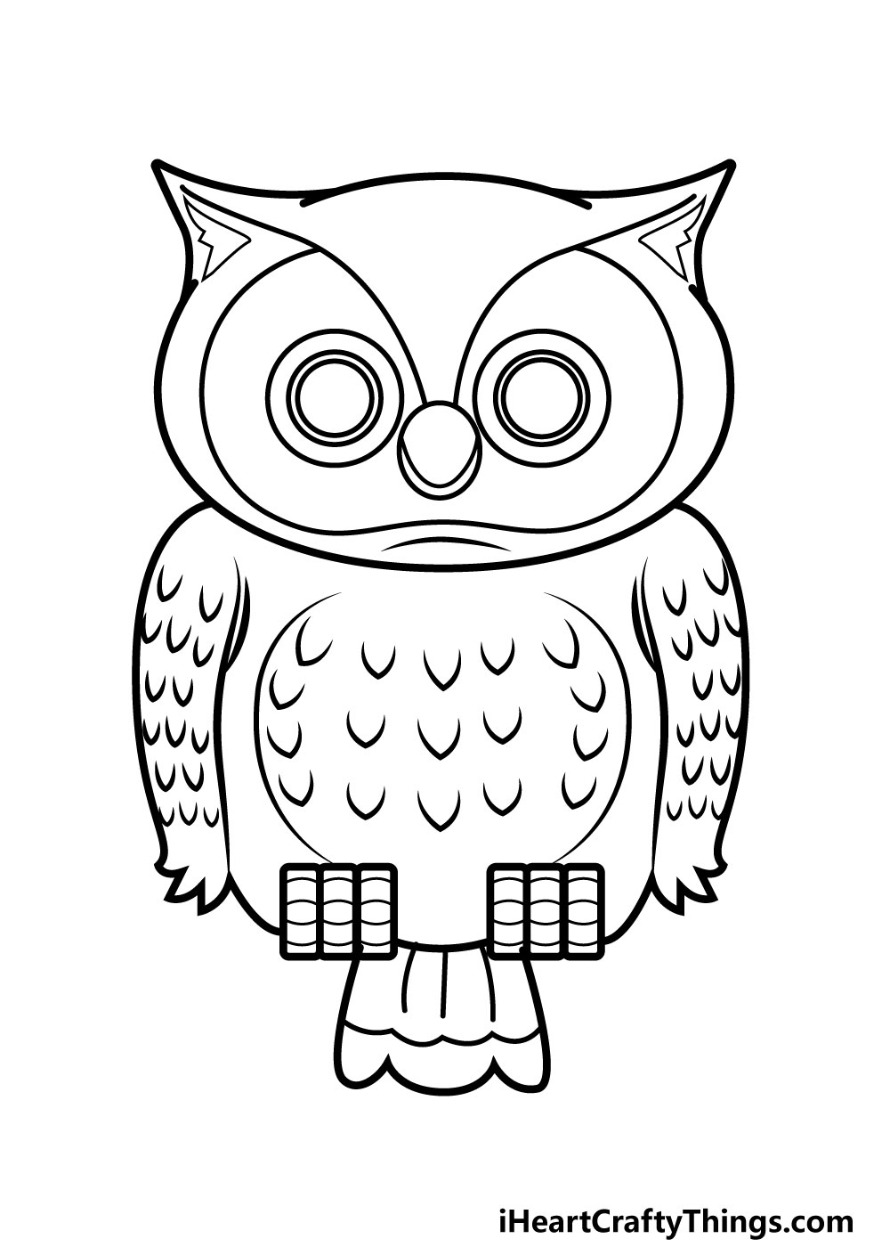 owl drawing step 8