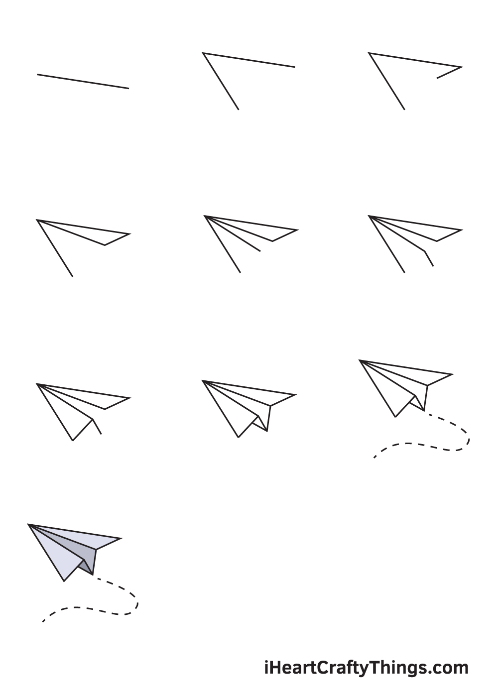 drawing paper airplane in 9 steps