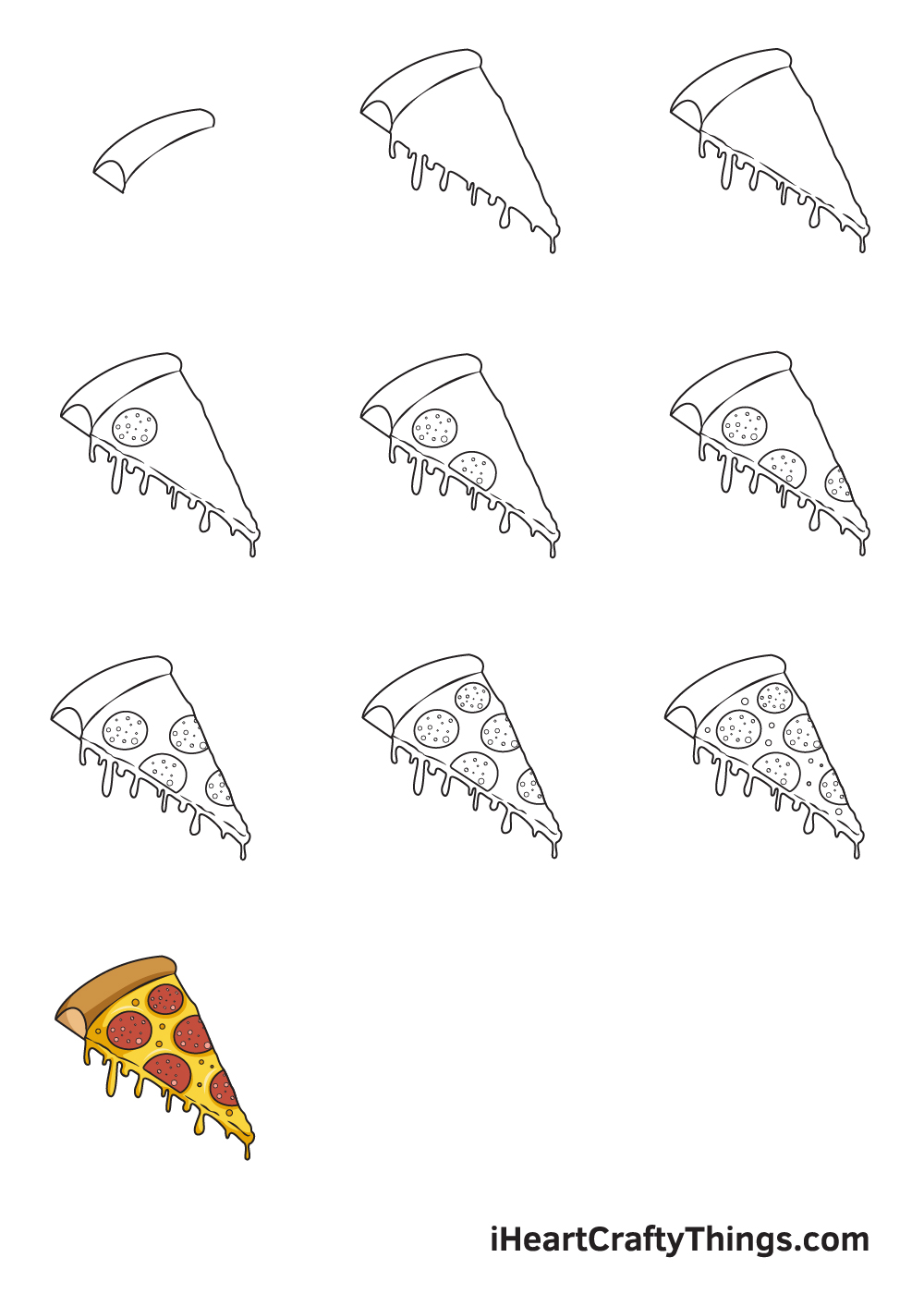 drawing pizza in 9 easy steps