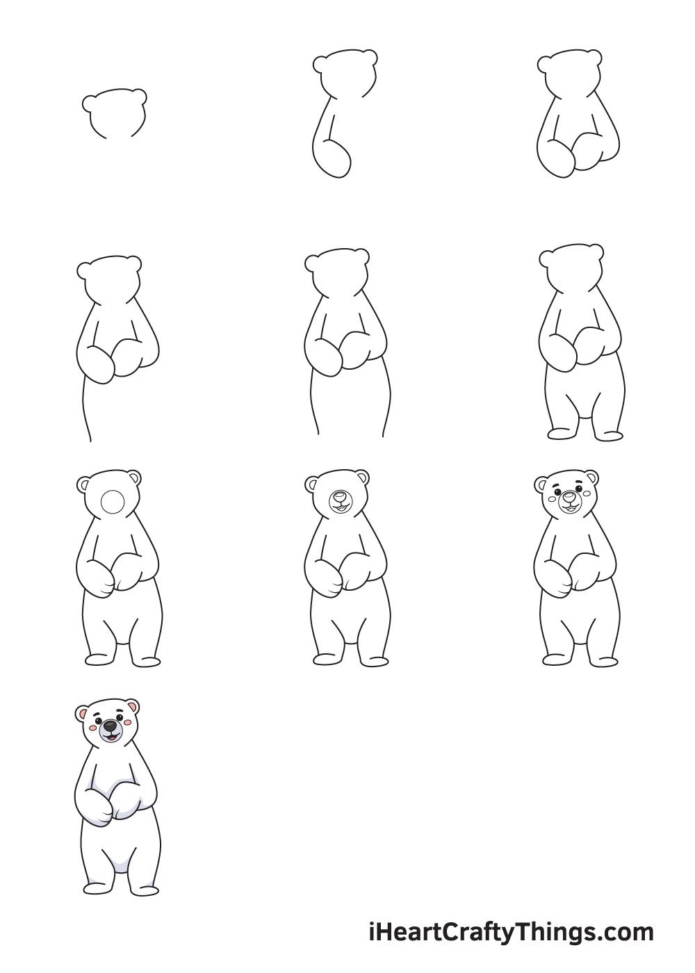 drawing polar bear in 9 easy steps