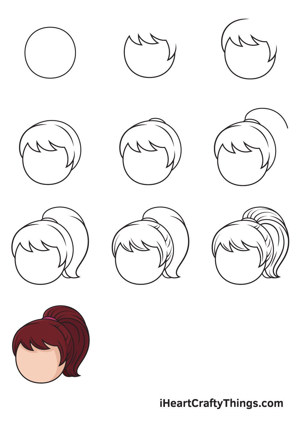 drawing ponytail in 9 steps