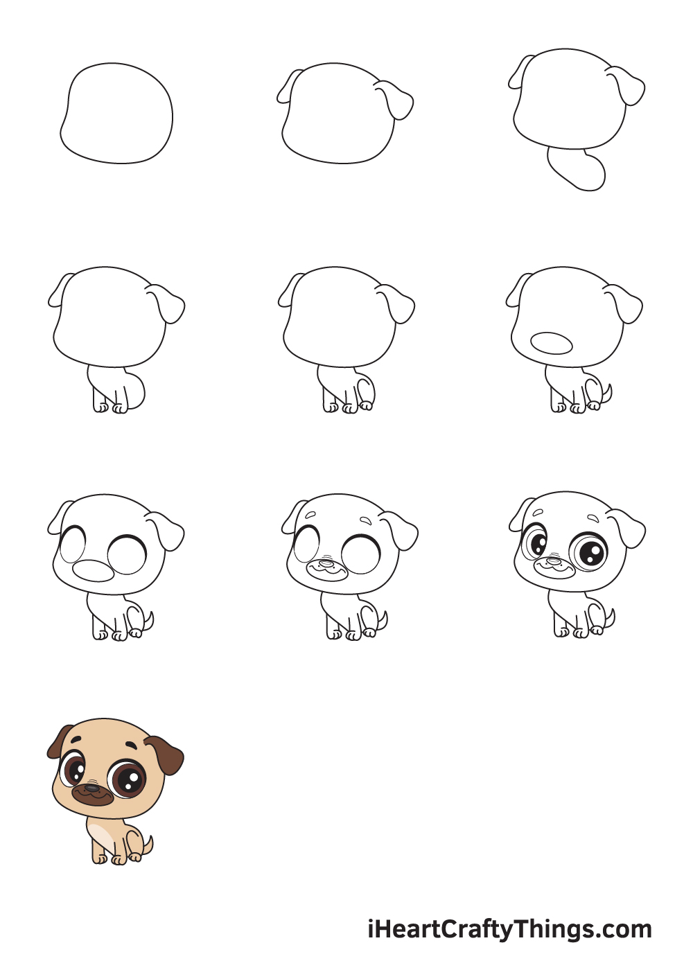drawing pug in 9 easy steps