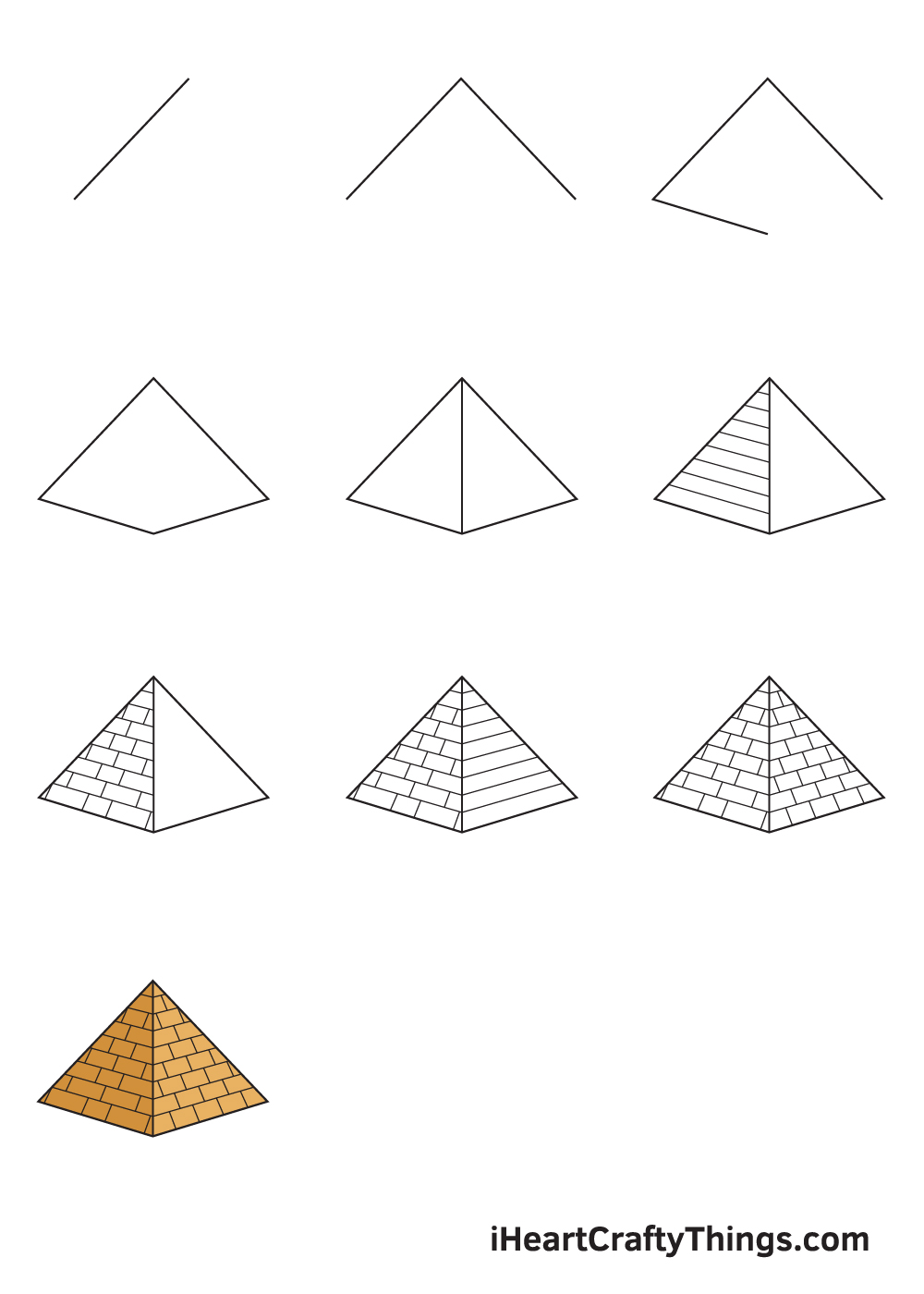 drawing pyramid in 9 steps