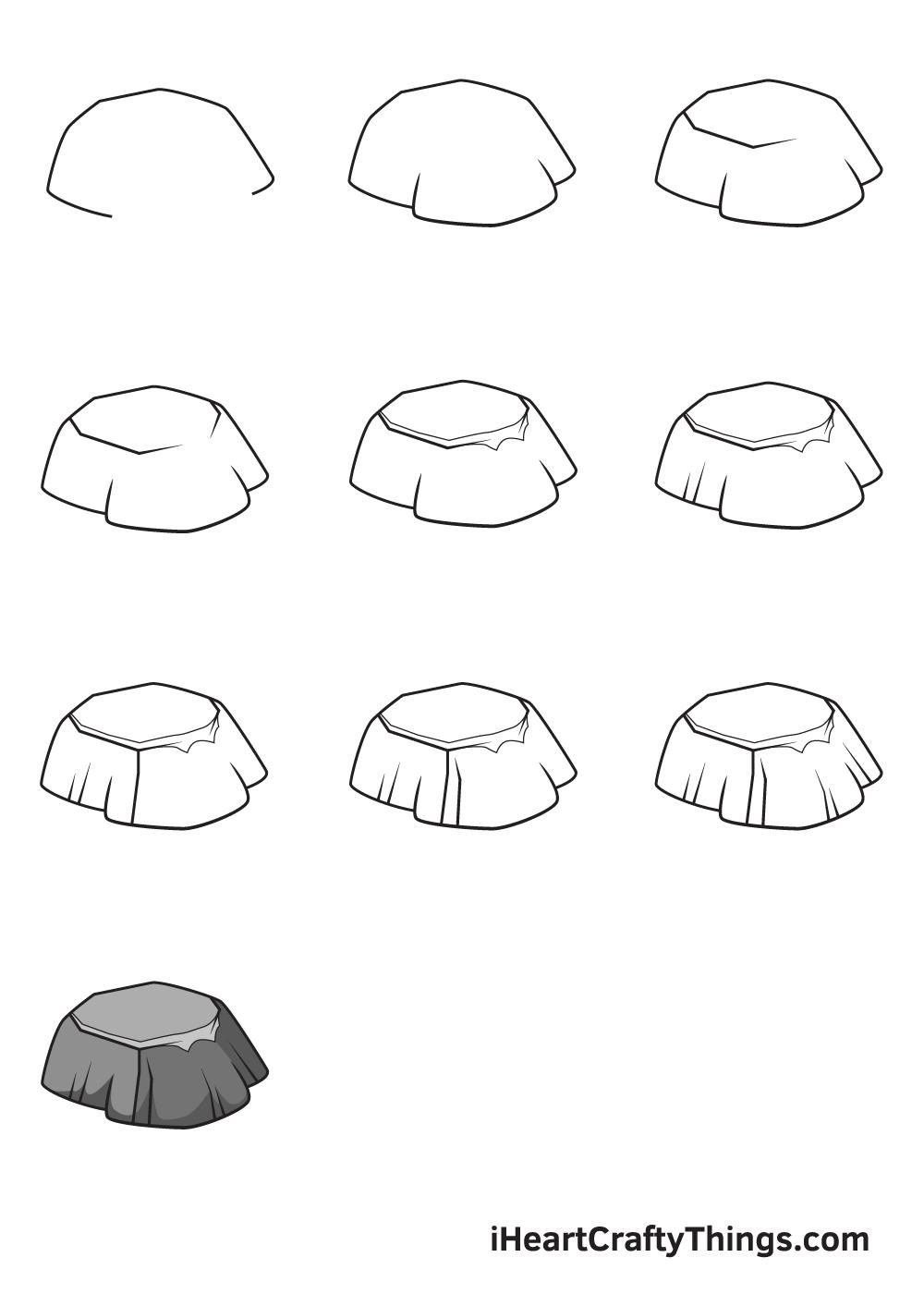 drawing rock in 9 steps