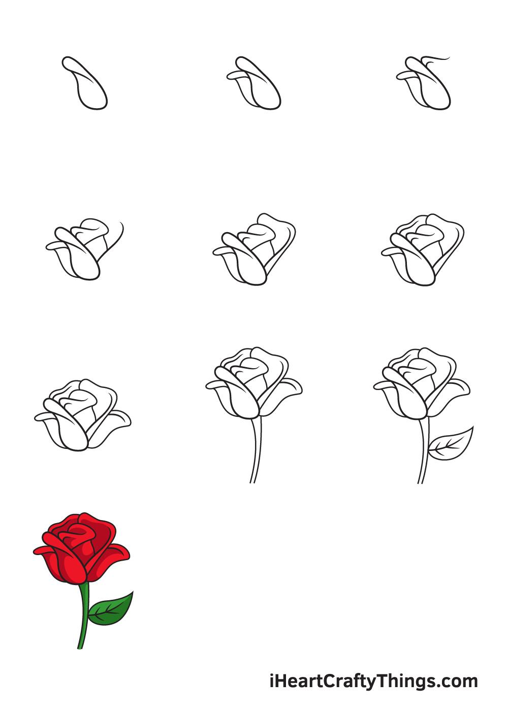 рисование розы за 9 шагов