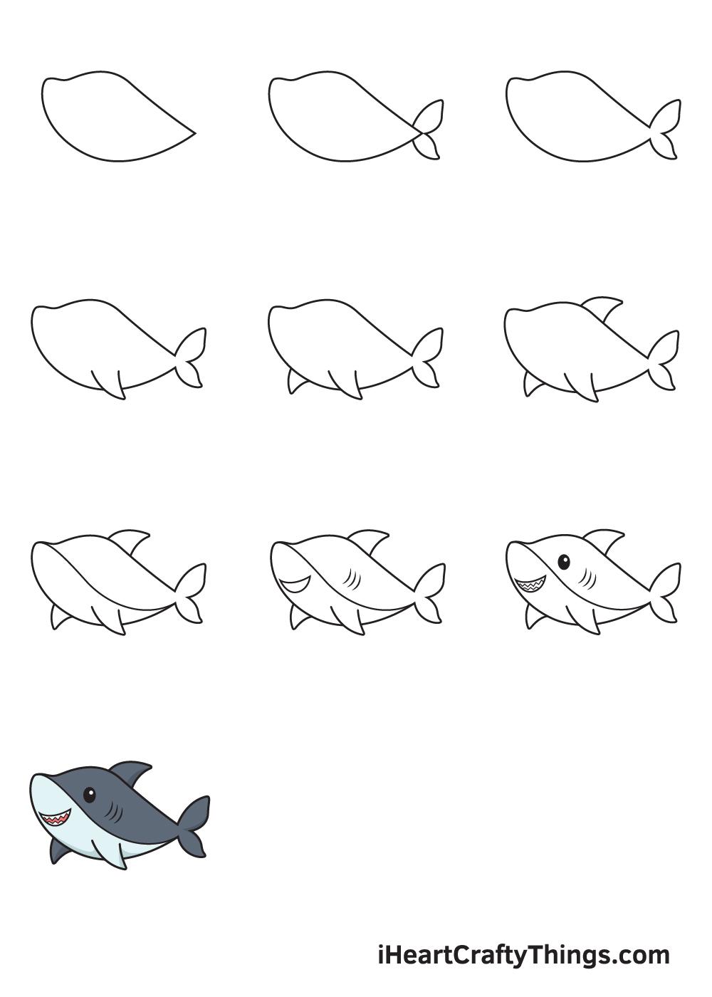 drawing shark in 9 easy steps