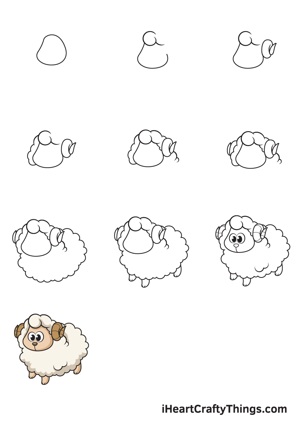 drawing sheep in 9 easy steps