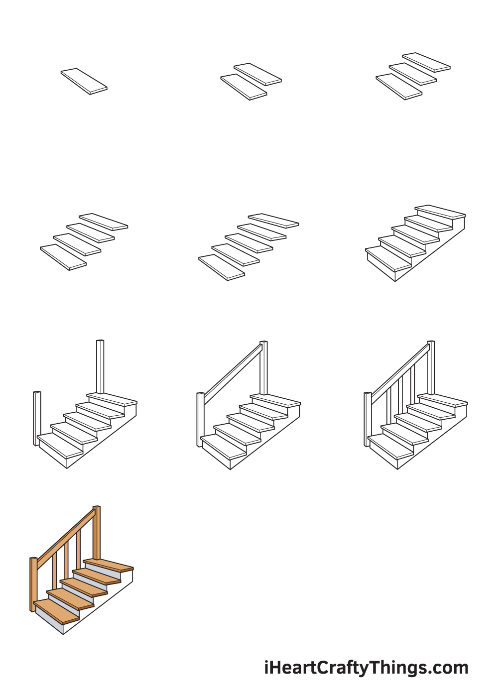 drawing stairs in 9 steps