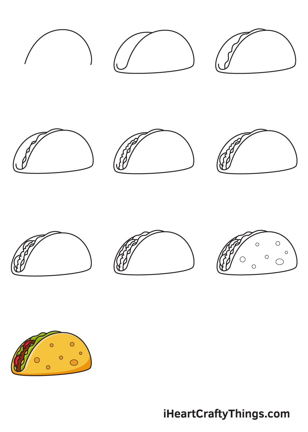 Taco Drawing - How To Draw A Taco Step By Step
