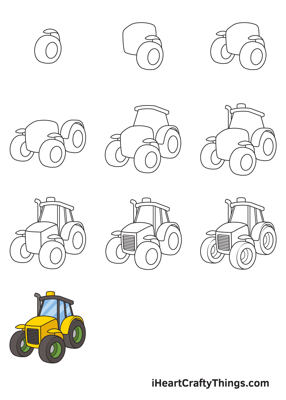 drawing tractor in 9 steps