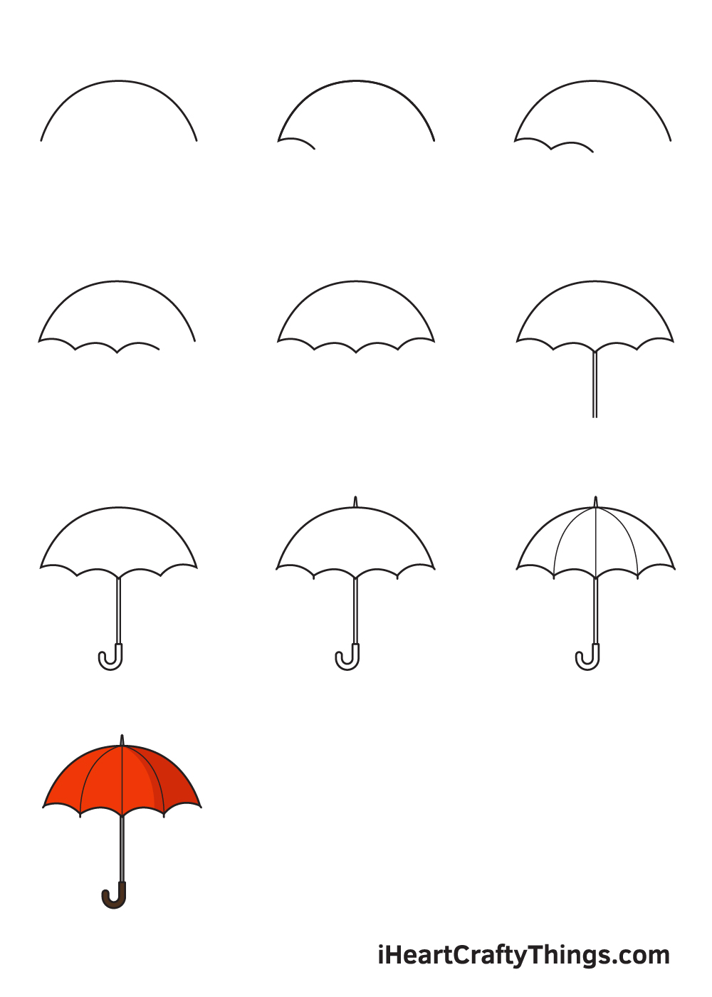 drawing umbrella in 9 steps