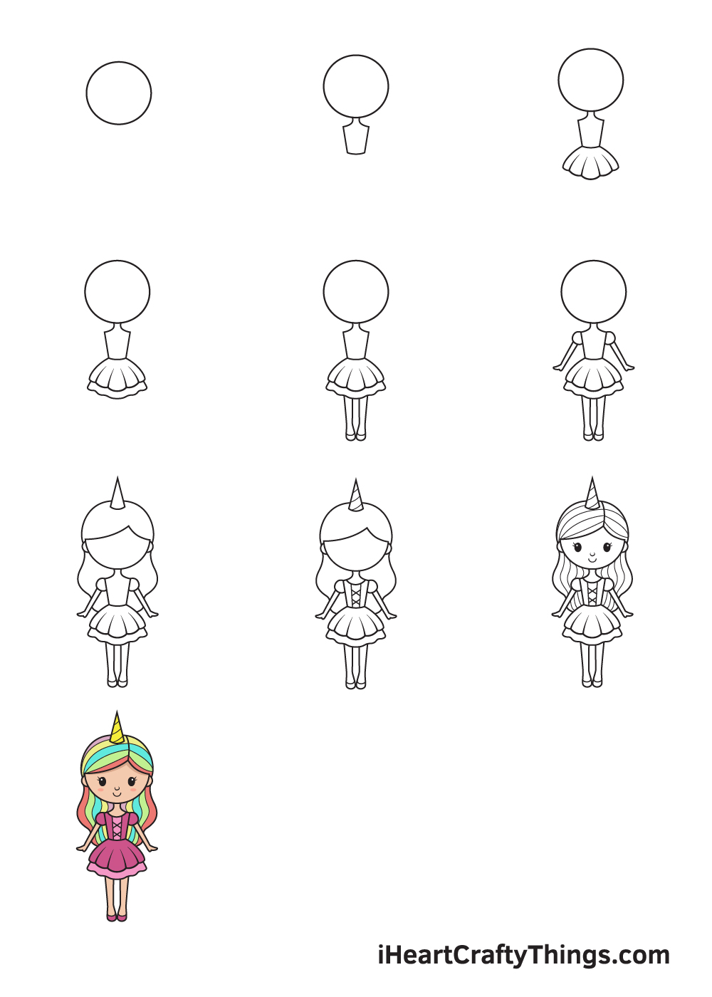 drawing unicorn girl in 9 steps