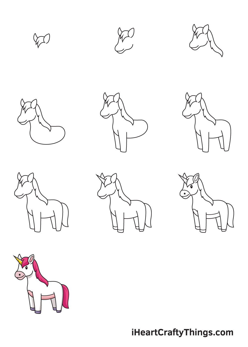 drawing unicorn in 9 easy steps