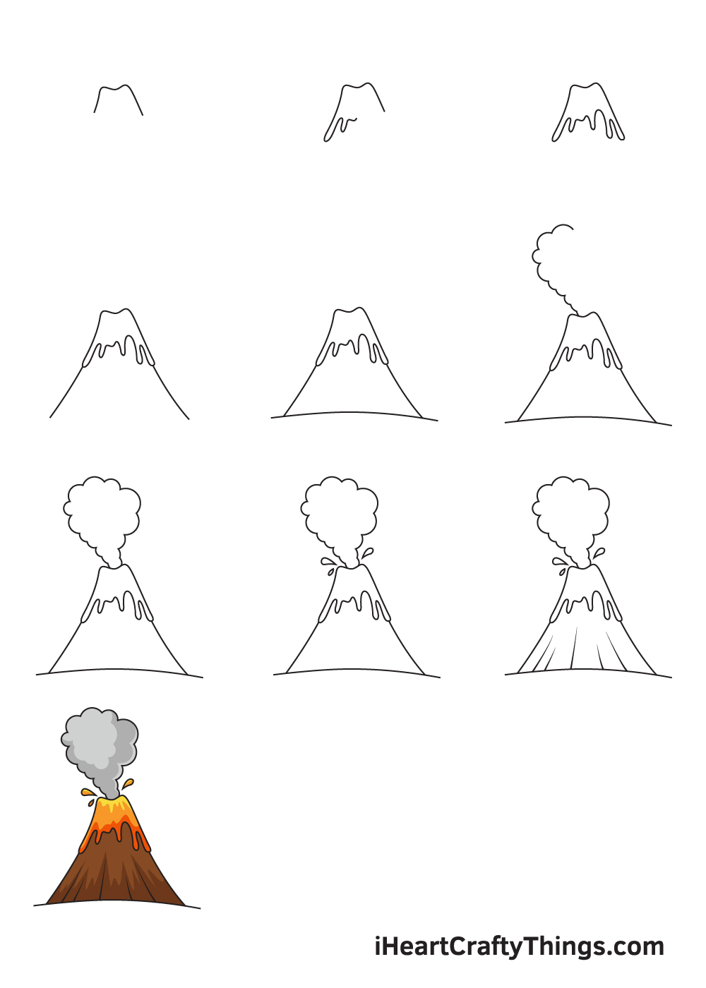 drawing volcano in 9 steps