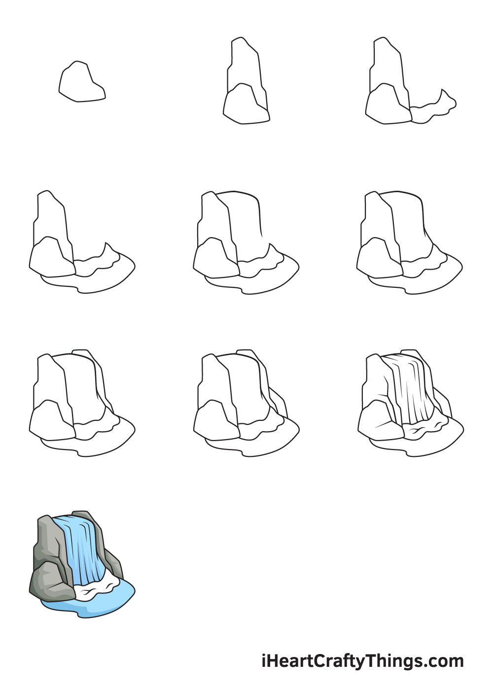 drawing waterfall in 9 steps