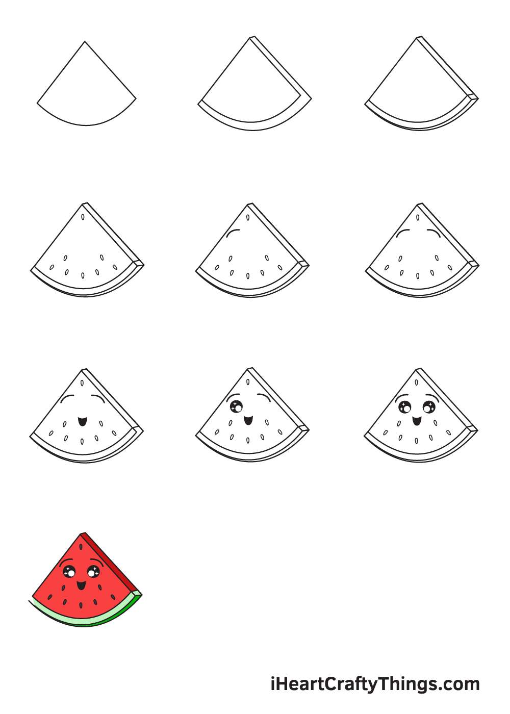 drawing watermelon in 9 steps