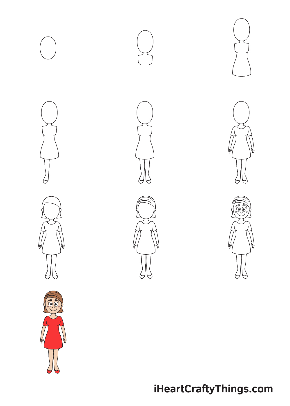 drawing woman in 9 easy steps