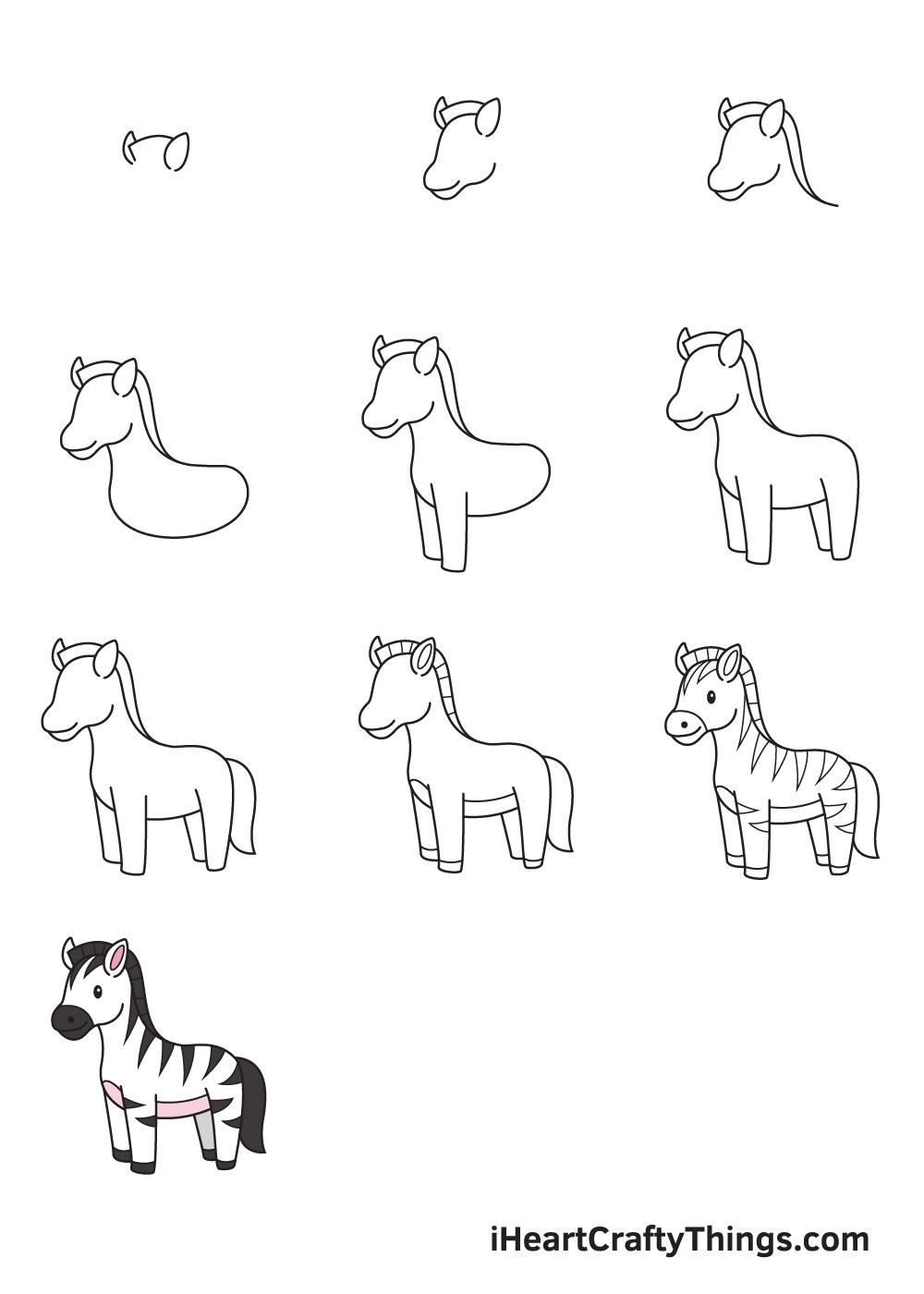 drawing zebra in 9 easy steps