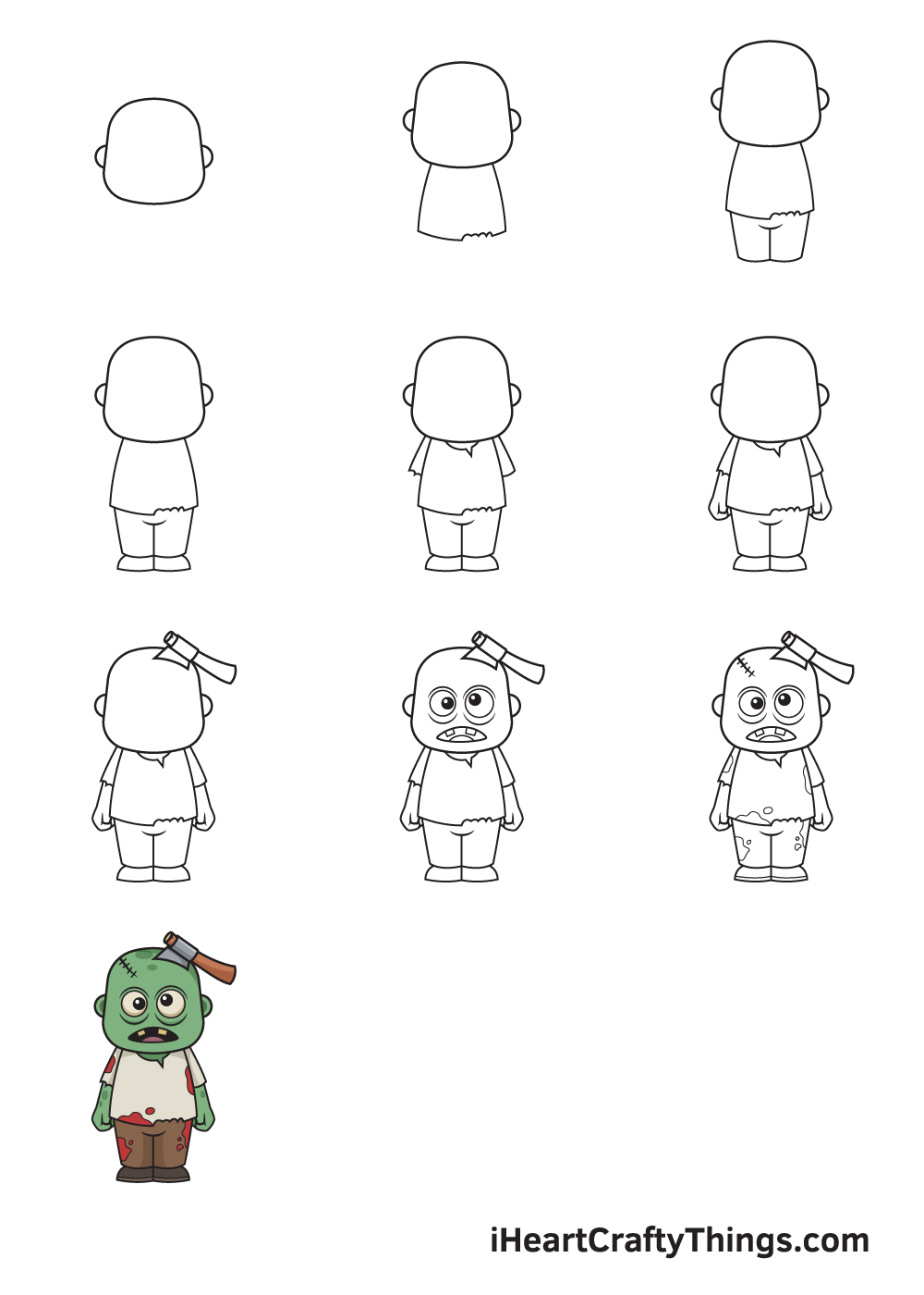 drawing zombie in 9 easy steps