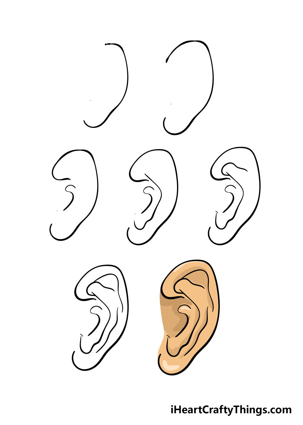 how to draw ear in 7 steps
