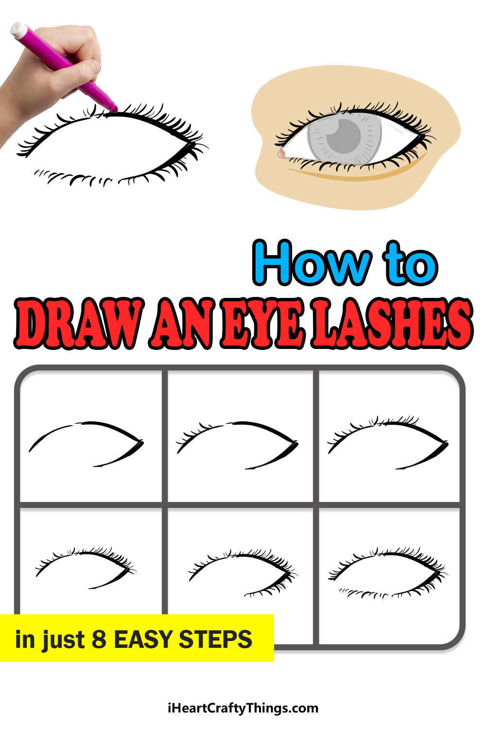 how to draw eyelashes in 8 easy steps