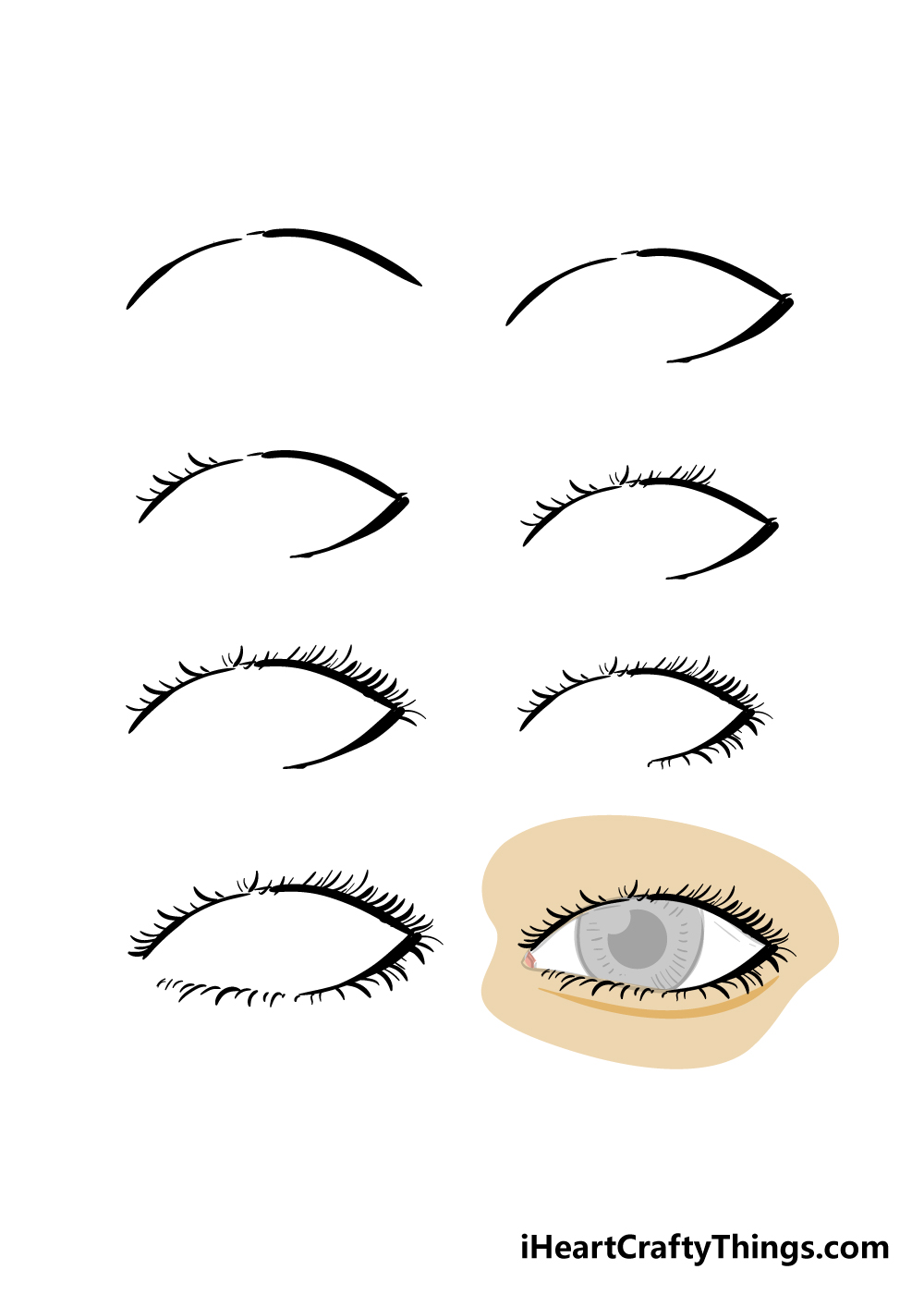 how to draw eyelashes in 8 steps