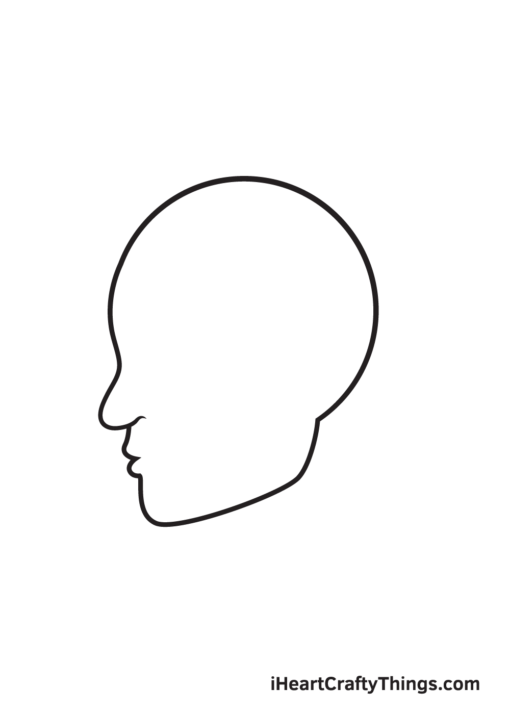 face from the side drawing step 3