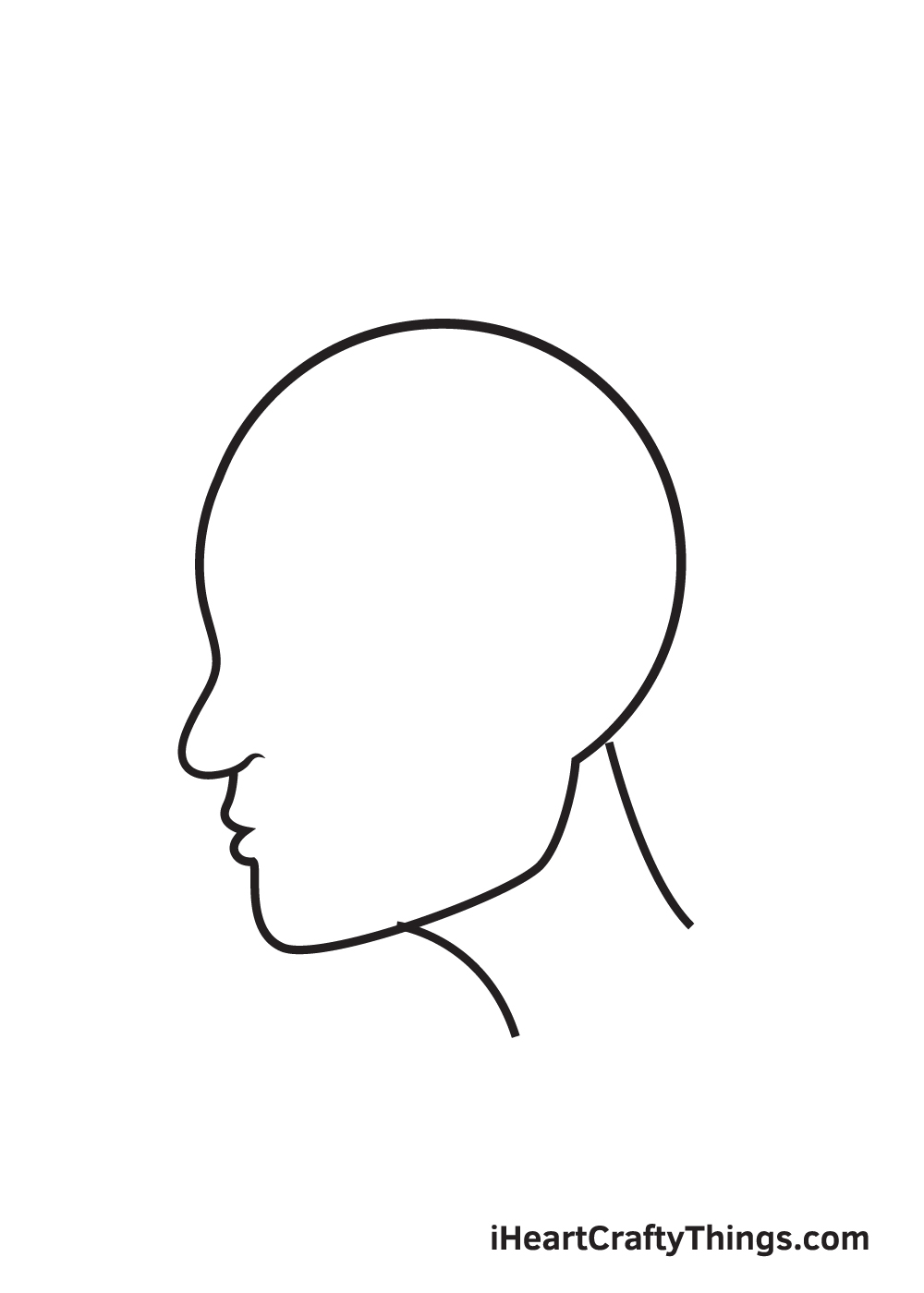 face from the side drawing step 4
