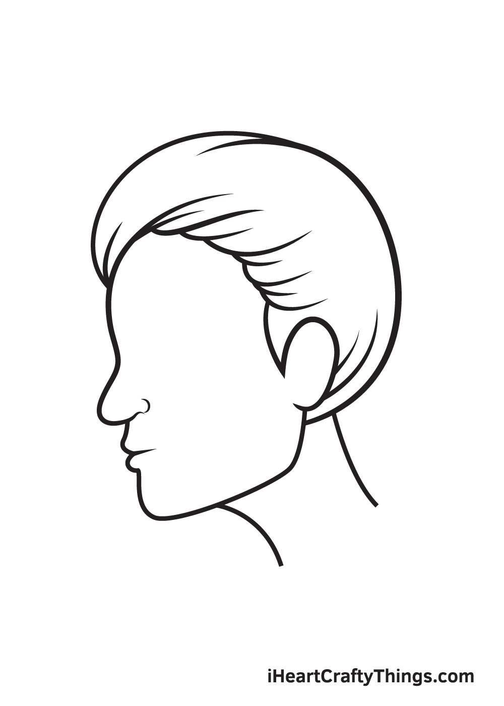 face from the side drawing step 6