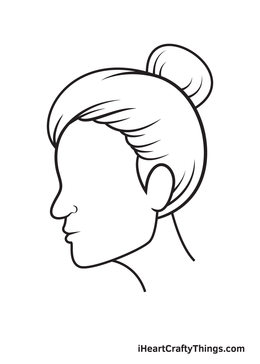 face from the side drawing step 7