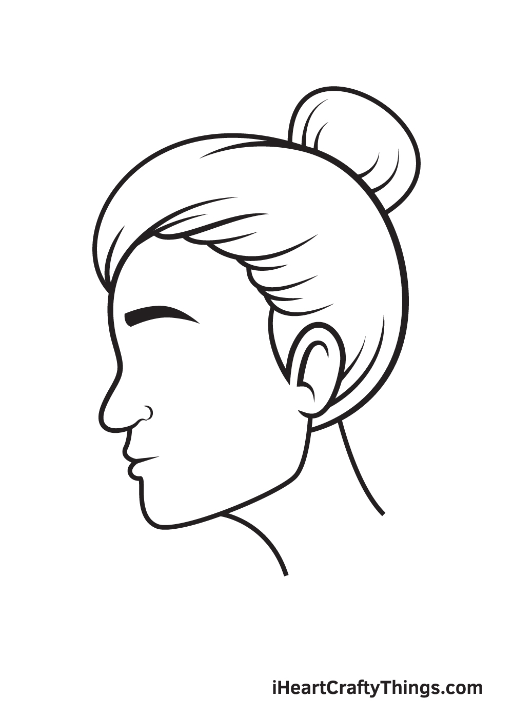 face from the side drawing step 8