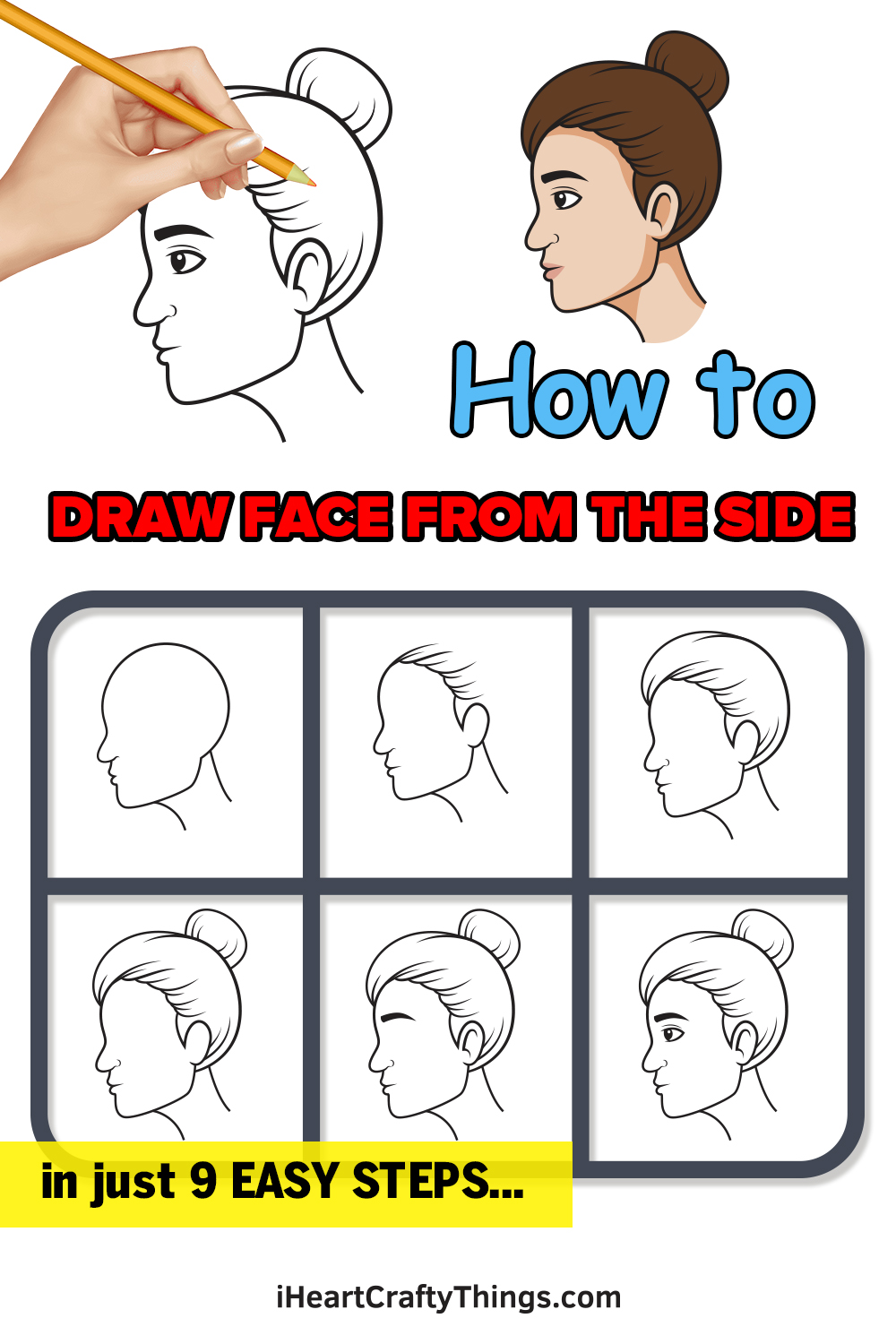 how to draw face from the side in 9 easy steps