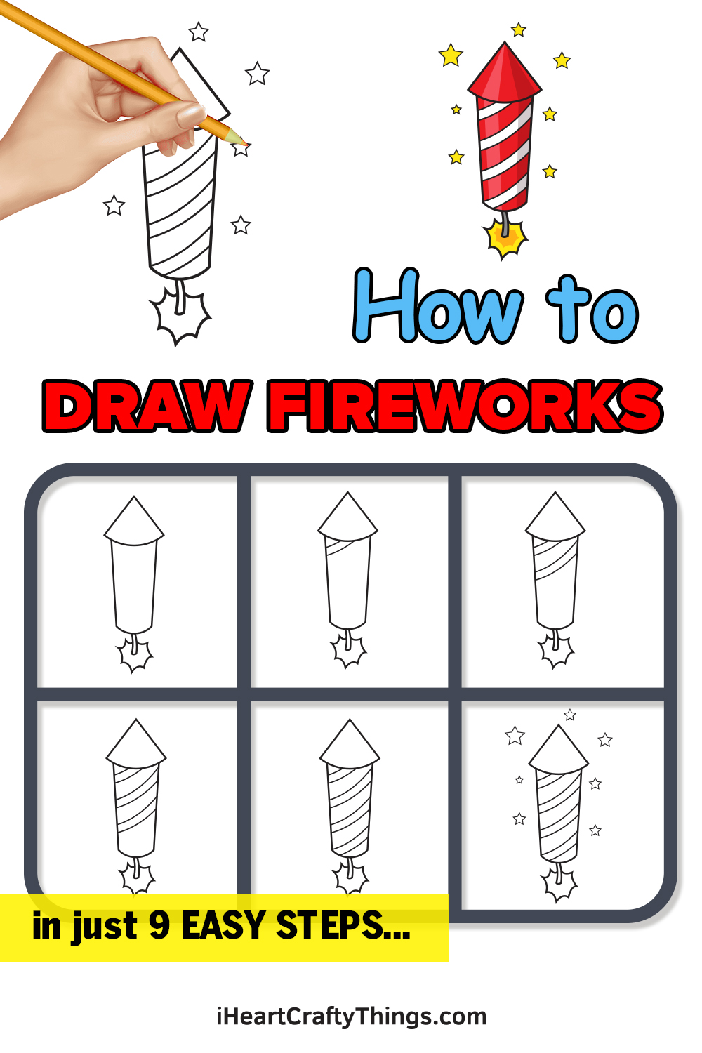 how to draw fireworks in 9 easy steps