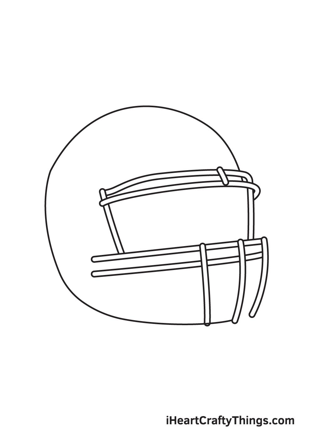 football helmet drawing step 2
