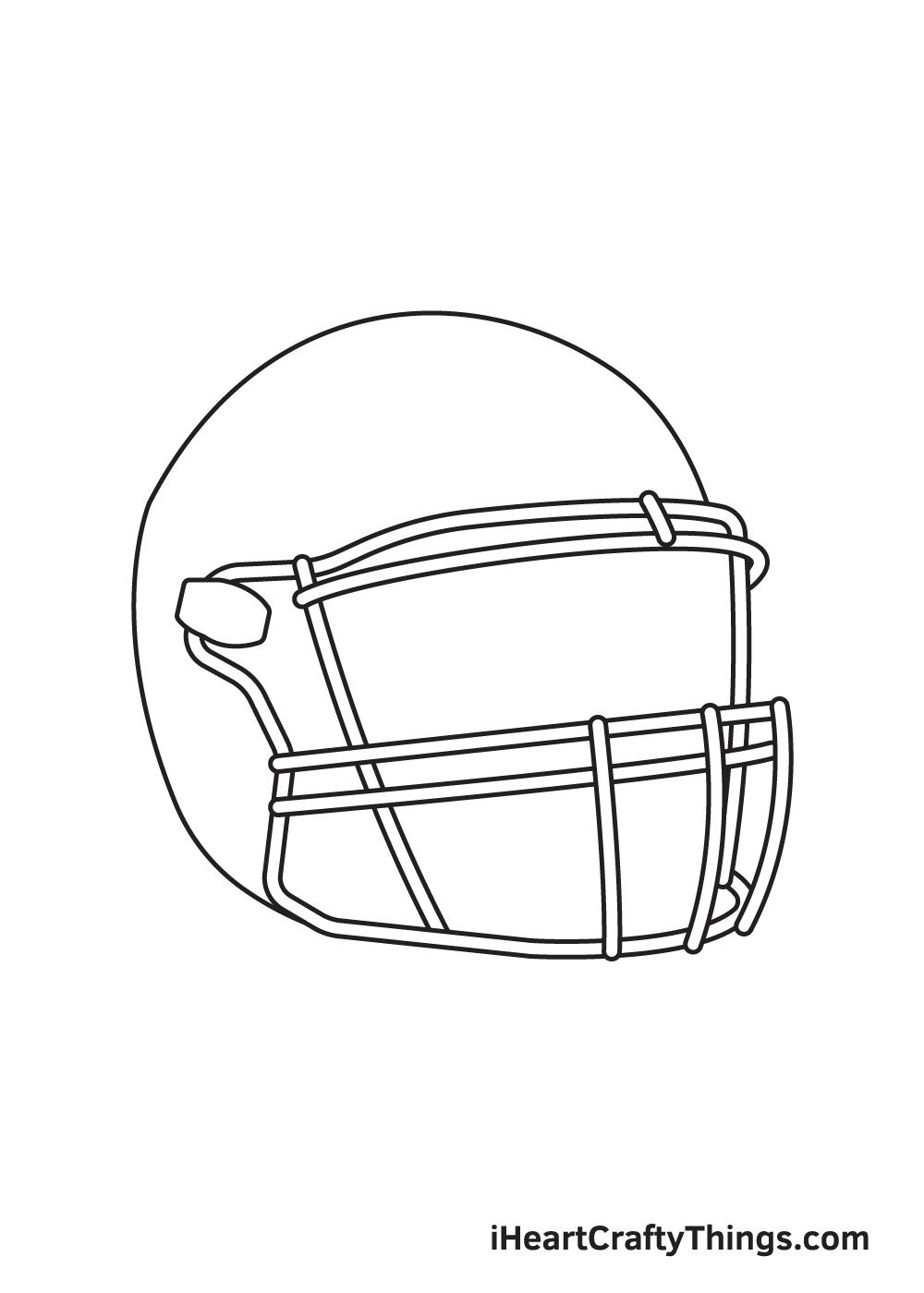 football helmet drawing step 3