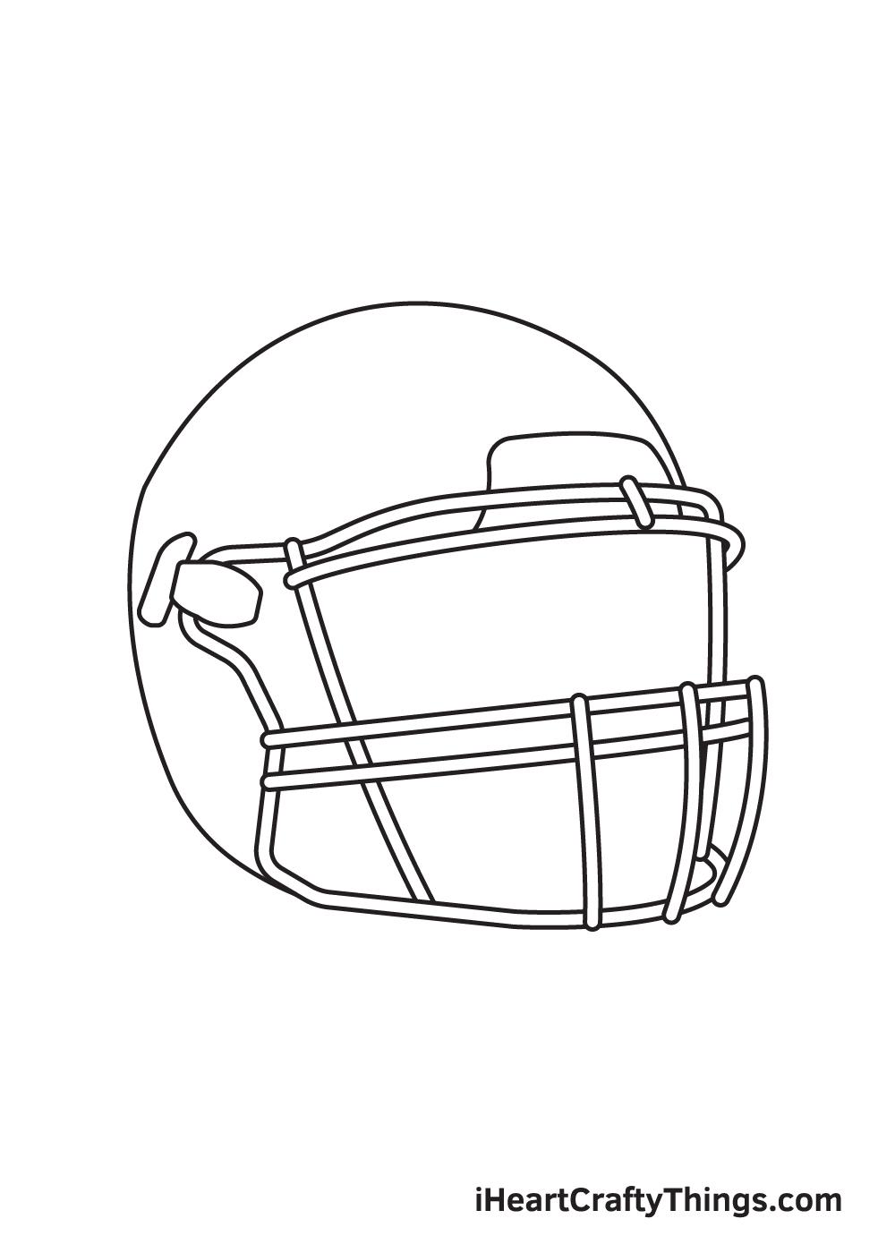football helmet drawing step 4