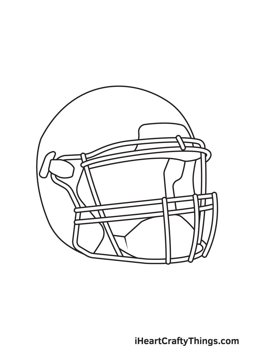 football helmet drawing step 7