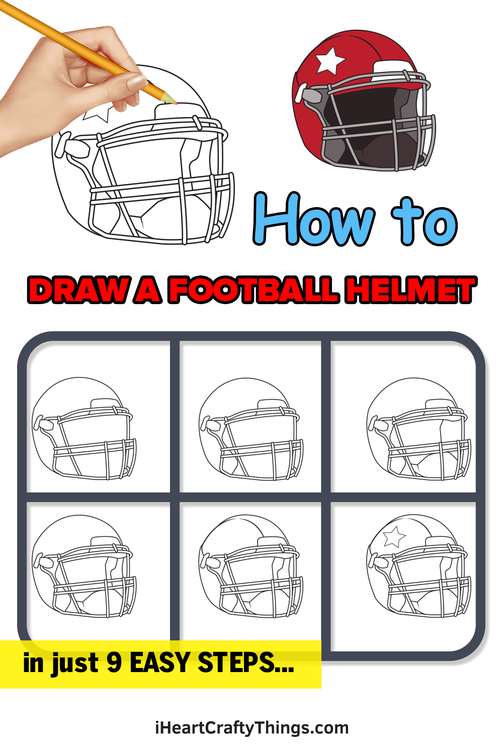 how to draw a football helmet in 9 easy steps