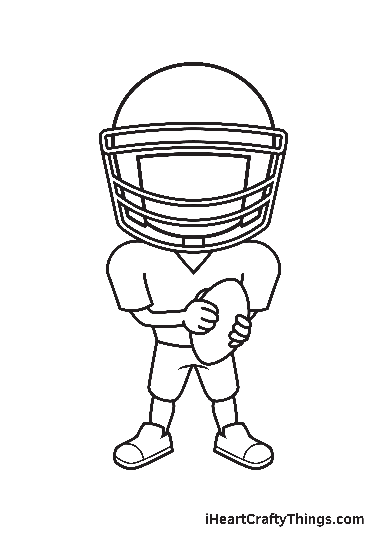 football player drawing step 7
