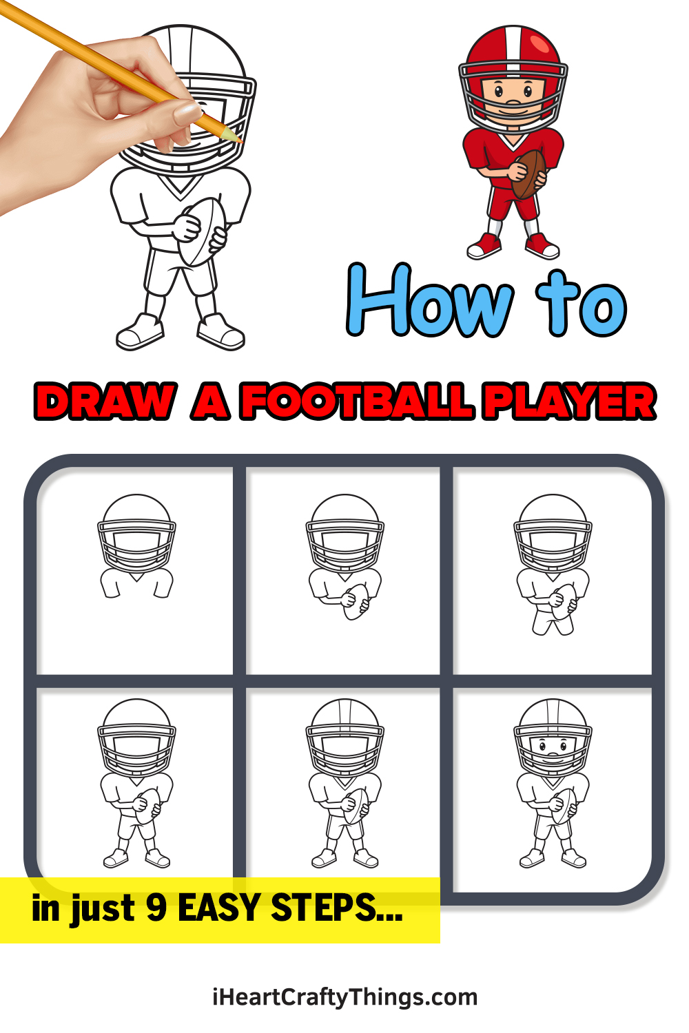 how to draw a football player in 9 easy steps