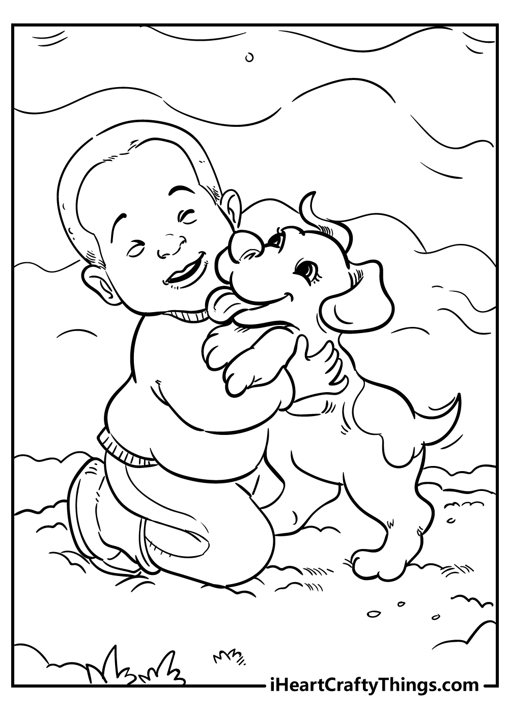 boy and dog playing coloring pages free download