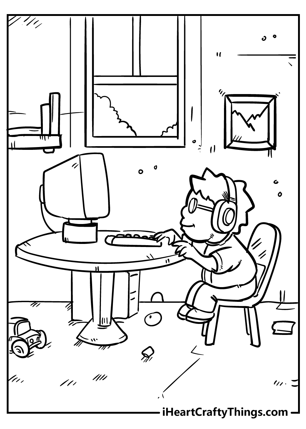 boy and computer coloring pages free download