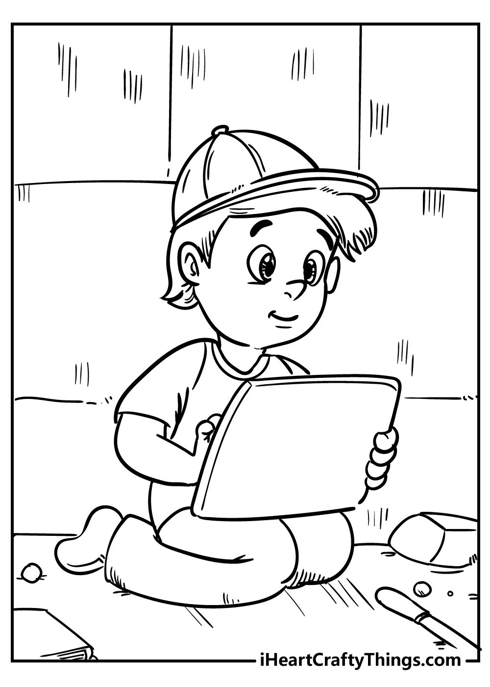 boy and tablet coloring pages free download
